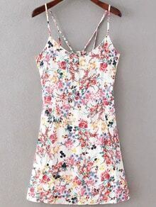 Florals Cut Out White Cami Dress