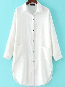 White Pocket Shirt Dress
