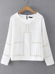 Studded Keyhole White Shirt
