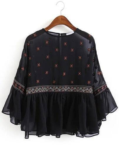 Bell Sleeve Embroidered Ruffle Chiffon Shirt