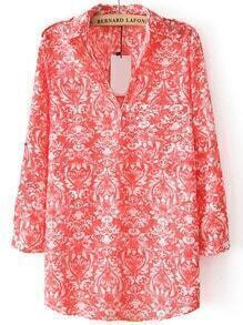 Tribal Print Red Blouse With Pocket