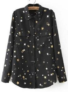 Stars Print Black Blouse With Pockets