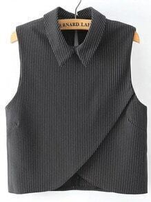 Vertical Striped Wrap Black Shirt