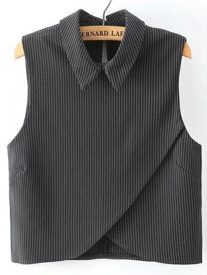 Vertical Striped Wrap Black Shirt