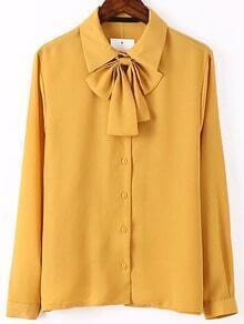Tie Collar Yellow Shirt