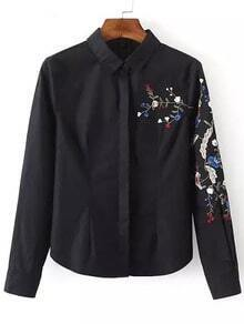Embroidered Slim Black Blouse