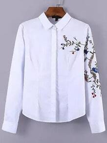 Embroidered Slim White Blouse