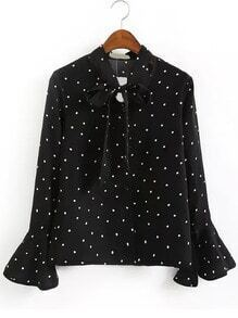Bell Sleeve Polka Dot Tie Neck Blouse