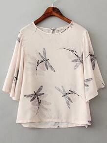 Dragonfly Print Crop Blouse