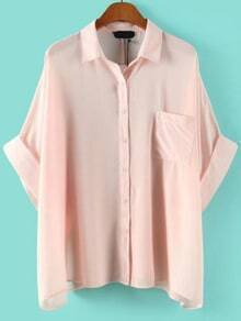 Batwing Pocket Loose Pink Blouse