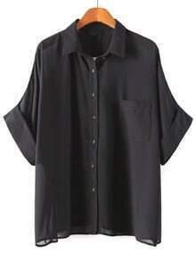 Batwing Pocket Loose Black Blouse