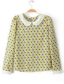 Polo Collar Floral Loose Blouse