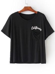 Letters Print Pocket Black T-shirt