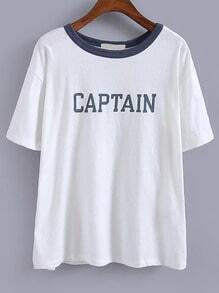 Letters Anchors Print White T-shirt