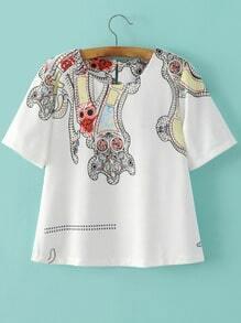 Tribal Print Short Sleeve Blouse