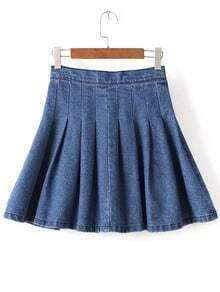 High Waist Denim A-Line Skirt