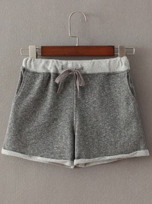 Contrast Pocket Shorts With Draw Cord Waist