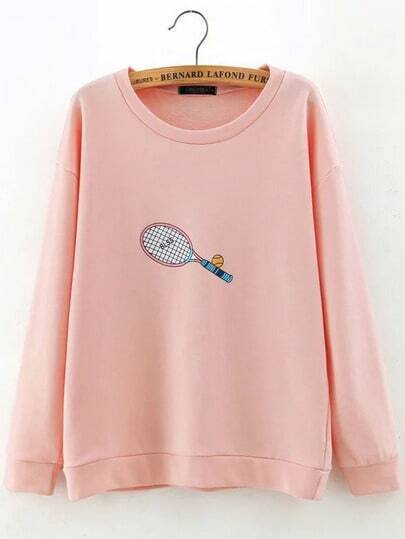 Tennis Racket Print Sweatshirt