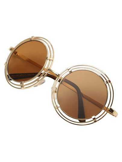 Cutout Brown Lenses Round Sunglasses