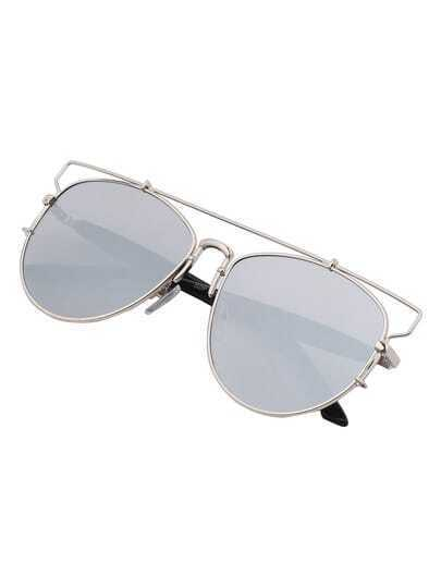 Metallic Top Bar Silver Lenses Sunglasses