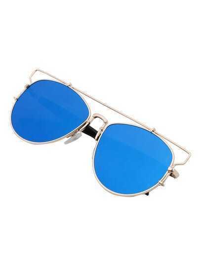 Metallic Top Bar Blue Lenses Sunglasses