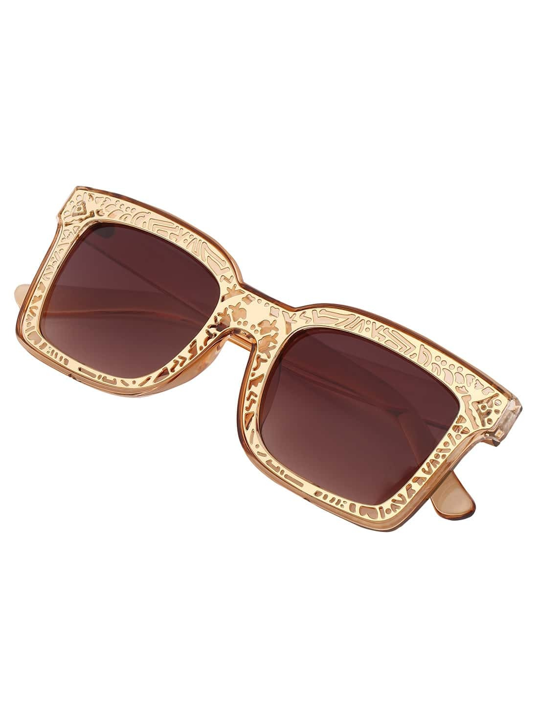 Golden Tribal Print Frame SunglassesGolden Tribal Print Frame Sunglasses<br><br>color: Gold<br>size: None