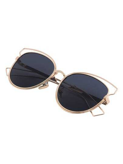 Golden Cutout Frame Cat Eye Sunglasses