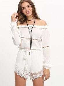 Off The Shoulder Lace Insert Romper With Drawstring