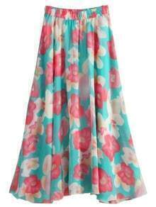 Florals Chiffon Skirt With Elastic Waist