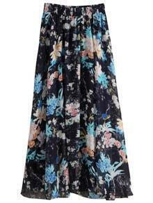Navy Florals Chiffon Skirt With Elastic Waist