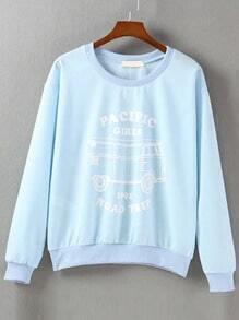 Blue Letters Print Sweatshirt