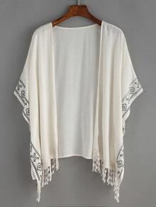 White Aztec Print Fringe Kimono
