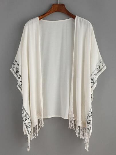 Aztec Print Fringe Hemline Kimono