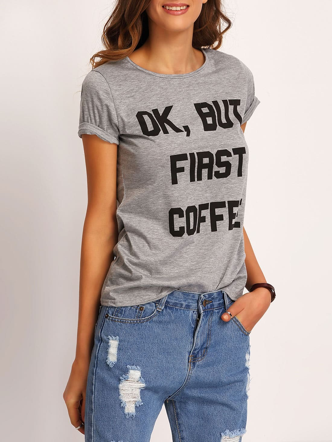 Фото Letters Print T-shirt. Купить с доставкой