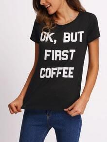 Black Letters Print T-shirt