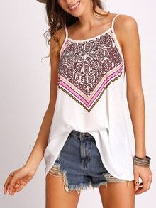 White Spaghetti Strap Tribal Print Cami Top