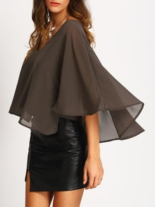V Neck Chiffon Cape Blouse