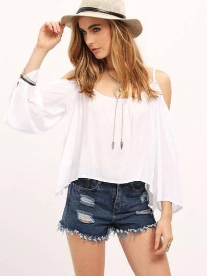 White Cold Shoulder Bell Sleeve Shirt