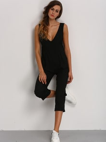 Black Deep V Neck Jumpsuit