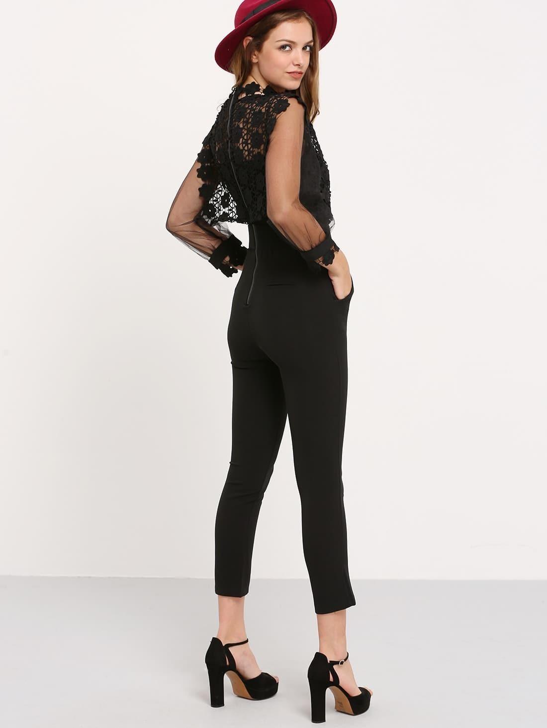 11050ed2aaf ... Black Lantern Sleeve Lace Crochet Jumpsuit