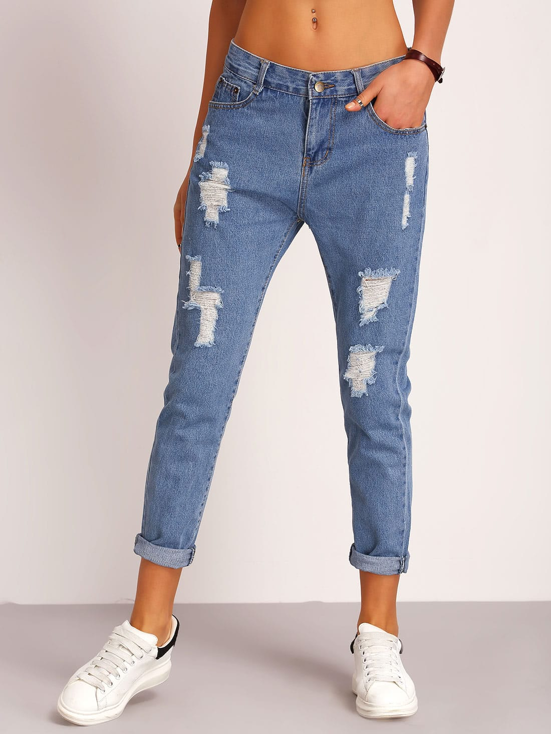 Ripped Detial Rolled Hem Jeans