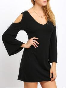 Black Deep V Neck Bell Sleeve Dress