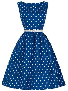 Blue Polka Dot A-Line Dress