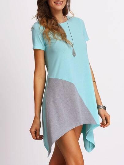 Color-block Asymmetrical Tshirt Dress