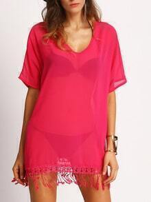 Hot Pink V Neck Fringe Sheer Dress