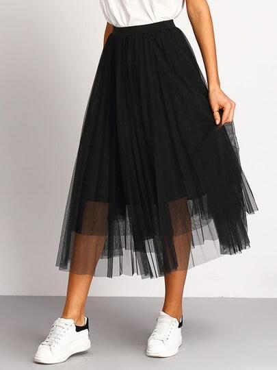 jupe taille lastique pliss noir french shein sheinside. Black Bedroom Furniture Sets. Home Design Ideas
