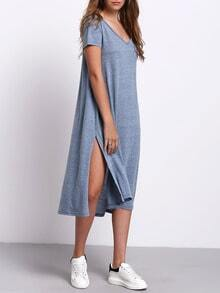 V-neck Side Split Casual Dress