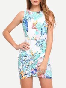 Multicolor Print Cut-out Wrap Front Bodycon Dress
