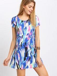 Multicolor Print Short Sleeve Shift Dress