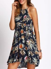 Multicolor Print Cutaway Pleated Shift Dress